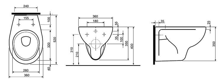 Схема Унитаз подвесной Ifo